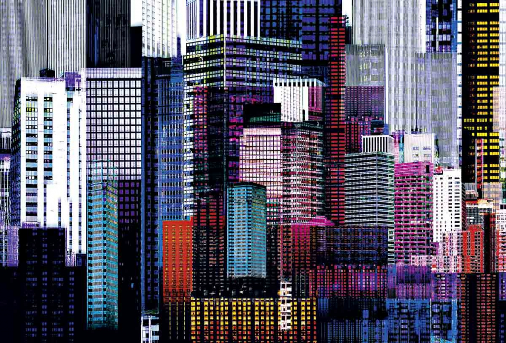 Giant art f641 colourful skyscrapers fra Giant art på efarvehandel.dk