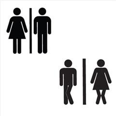 Efarvehandel.dk – Wallsticker - toilet piktogram krydsede ben på efarvehandel.dk