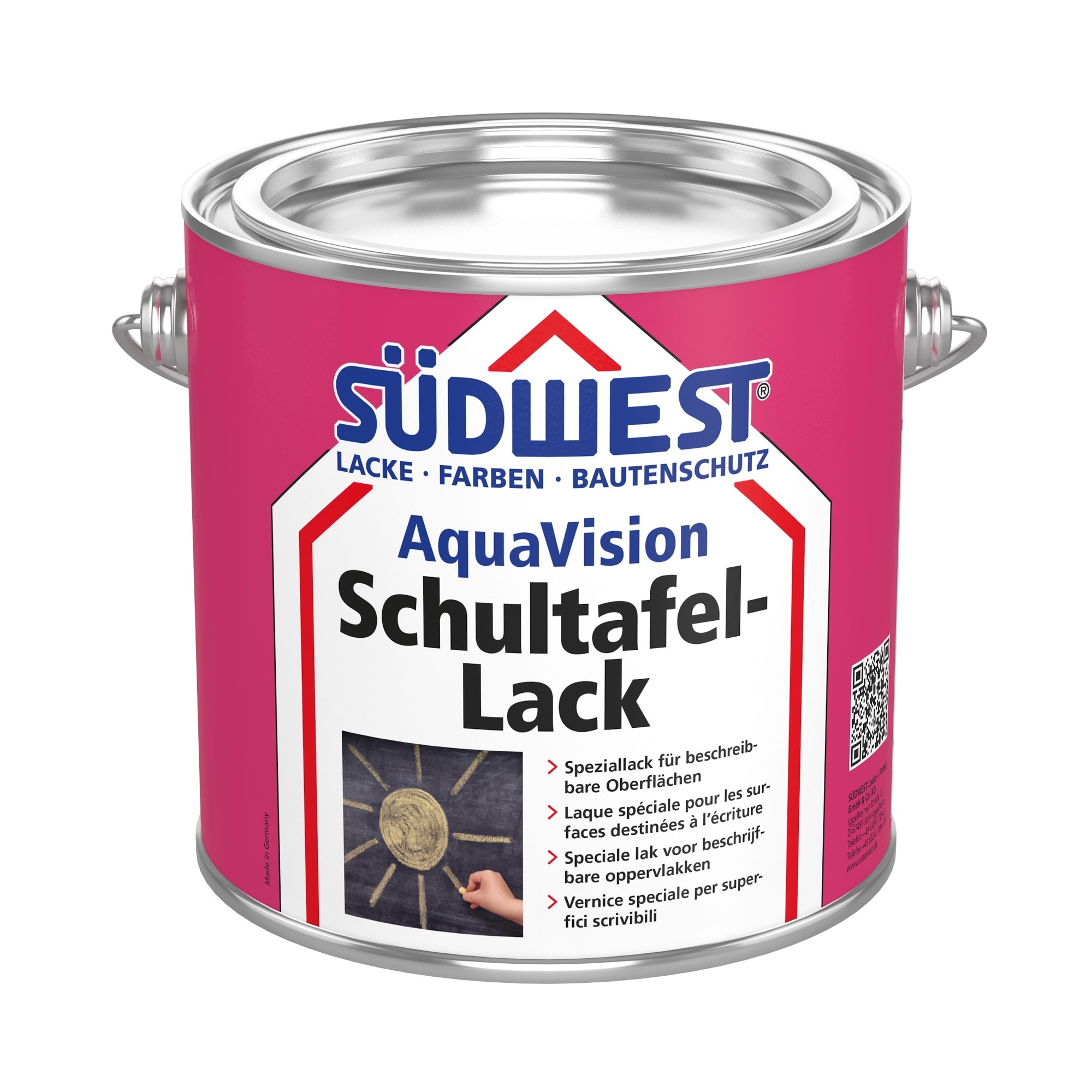 Image of   Südwest Aqua Skoletavlelakmaling-2,5 L RAL 3011 - Brown red